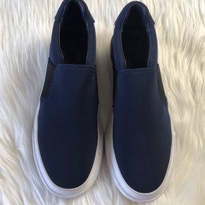 Vince navy satin platform slip on sneakers US 6